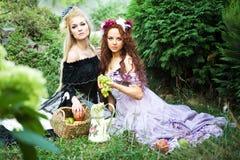 Zwei Mädchen auf dem Gras Stockfotografie