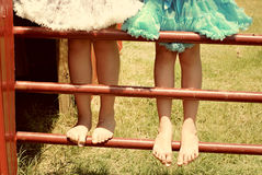 Zwei Mädchen auf Zaun in den Ballettröckchen lizenzfreie stockfotografie