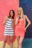 Zwei Mädchen Brunette und blonde Frau mit dem langen Haar, das gegen Graffitihintergrund aufwirft Stockfoto