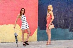 Zwei Mädchen Brunette und blonde Frau mit dem langen Haar, das gegen Graffitihintergrund aufwirft Lizenzfreie Stockfotos