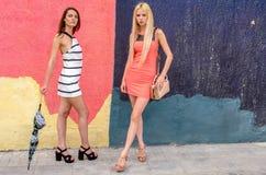 Zwei Mädchen Brunette und blonde Frau mit dem langen Haar, das gegen Graffitihintergrund aufwirft Lizenzfreies Stockfoto