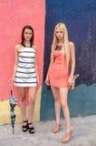 Zwei Mädchen Brunette und blonde Frau mit dem langen Haar, das gegen Graffitihintergrund aufwirft Stockbild