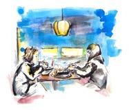 Zwei Mädchen, die asiatisches Porzellanlebensmittel im chinesischen Café, Skizze essen Stock Abbildung