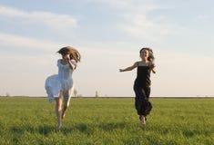 Zwei Mädchen, die auf das Feld 2 laufen lizenzfreie stockfotografie