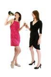 Zwei Mädchen, die Champagne trinken Stockfotos