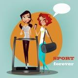 Zwei Mädchen, die in der Turnhallenmitte plaudern vektor abbildung