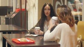 Zwei Mädchen, die in einer Kaffeestube sprechen stock video footage