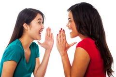 Zwei Mädchen, die ihre Geheimnisse teilen Stockfotografie