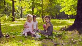 Zwei Mädchen, die im Park auf dem Gras nahe dem Baum spielen stock video footage