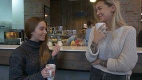 Zwei Mädchen, die Kaffee in einem Café trinken stock video