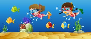 Zwei Mädchen, die unter dem Ozean tauchen vektor abbildung