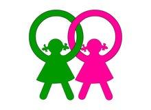 Zwei Mädchen an ihrer Identität Stockbild