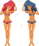Zwei Mädchen im Bikini Stockbilder