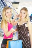 Zwei Mädchen mit Beuteln - Vergleichseinkaufen. Verkauf! Stockbilder