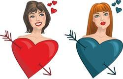 Zwei Mädchen mit Inneren und Pfeilen. Valentinstag Lizenzfreies Stockfoto
