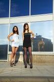 Zwei Mädchen steht und betrachtet den Projektor Lizenzfreies Stockfoto