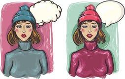 Zwei Mädchen. Trauriges und nachdenkliches Mädchen in einem Hut und in einem Schweiß Stockfoto