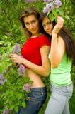 Zwei Mädchen und eine Flieder Stockfotografie