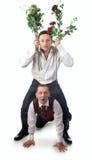 Zwei Männer auf einem weißen Hintergrund Stockfotos