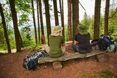Zwei Männer bewundern die Ansicht der Berge Stockfotografie