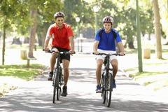 Zwei Männer, die durch Park radfahren stockbild