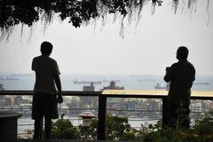 Zwei Männer genießen das kühle unter einem Baum und betrachten den Meerblick im Abstand stockfotografie