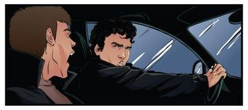 Zwei Männer im Auto, schreiend etwas Lizenzfreie Stockfotos