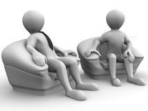 Zwei Männer setzt in einem Stuhl. Verstärkung stock abbildung