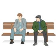 Zwei Männer sitzen auf einer Bank Auch im corel abgehobenen Betrag Stockfotos