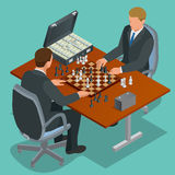 Zwei Männer spielen ein Schach Sitzendes und spielendes Zwei-mannschach Schachvorstand mit weißem Hintergrund Isometrische Illust Stockbild