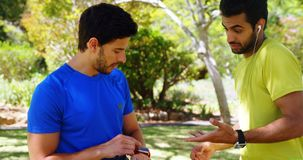 Zwei männliche Rüttler, die auf einander im Park 4k einwirken stock footage