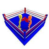 Zwei männliche Toon-Zeichen der Ikone 3d, die gegen kämpfen Lizenzfreies Stockbild