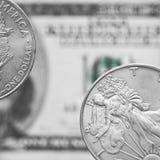 Zwei Münzen des silbernen Dollars Stockfoto