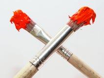 Zwei Malerpinsel lizenzfreie stockfotografie