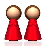Zwei-Mama 3D Familien-Ikone Stockfotografie