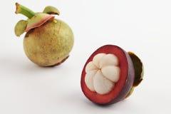 Zwei Mangostanfrüchte stockbild