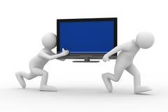 Zwei-mann tragen Sie Fernsehapparat lizenzfreie abbildung