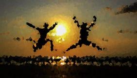 Zwei-mannsprung in der Beschaffenheit Stockbilder