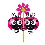 Zwei Marienkäfer in der Liebe, die Blume zusammenhält Lizenzfreie Stockbilder