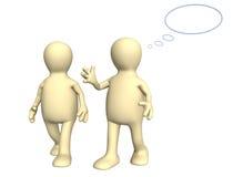 Zwei Marionetten 3d, sprechend auf Weg Lizenzfreies Stockbild