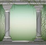 Zwei Marmorsäulen mit Liane, romantischer Platz im antiken Garten, Theaterdekoration, stock abbildung