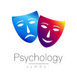 Zwei Masken mit verschiedenen Gefühlen Auch im corel abgehobenen Betrag Blaue und violette Farbe Modernes Zeichen von Psychologie Stockbild