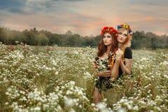 Zwei Mädchen, die in einer Umarmung das Feld stehen Stockfotos