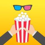 Zwei menschliche Geschäftsmannhände, die großen Popcornkasten halten rote blaue Gläser 3D Film-Kinoikone Nahaufnahme für Auslegun Lizenzfreies Stockfoto