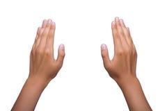 Zwei menschliche Hände auf Weiß stockbilder