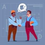 Zwei Mischungs-Rennerbauer, welche die Handvereinbarungs-Konzept-Karikatur-Geschäftsmann-Arbeiter-Zusammenarbeit rütteln vektor abbildung