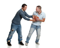 Zwei Männer mit Fußball Lizenzfreie Stockfotos