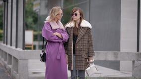 Zwei modisch und moderne Frauen tragen Mäntel stehen auf Stadtstraße und sprechen miteinander stock footage