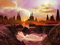 Zwei Monde an der Dämmerung auf entferntem Planeten stock abbildung