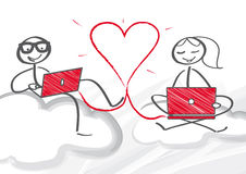 Zwei Mouses werden dem roten Liebes-Herzen in Weiß lokalisiertem Hintergrund angeschlossen vektor abbildung